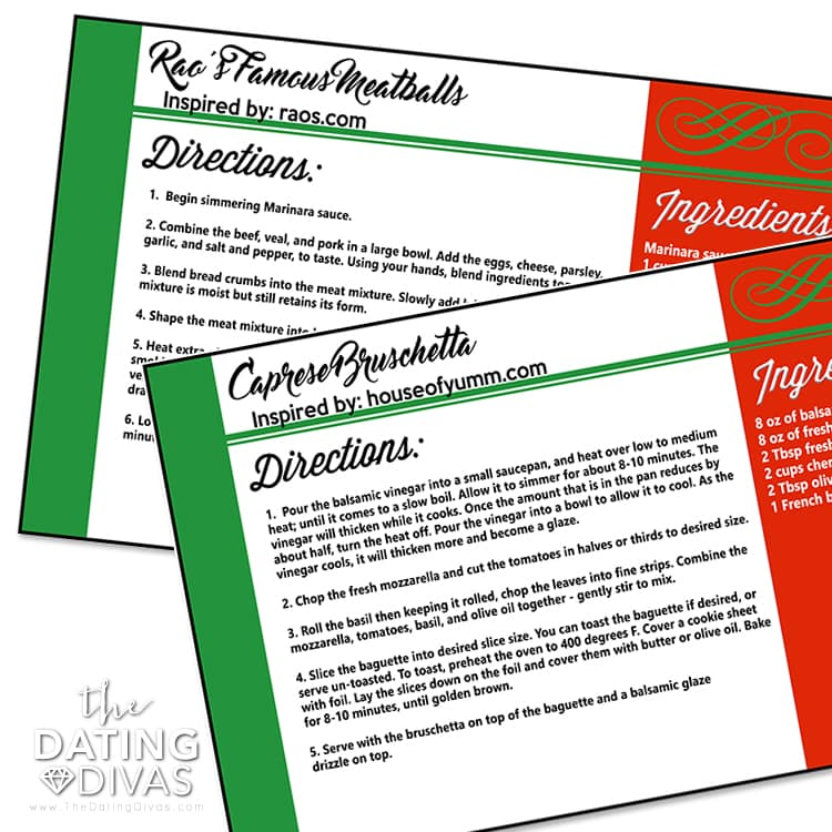 Italy Themed Recipe Cards