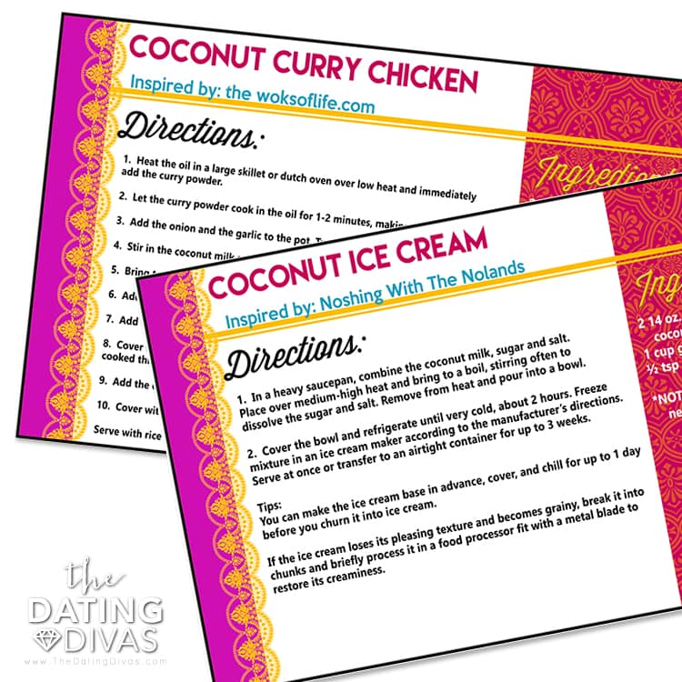 India Date Night Recipe Cards
