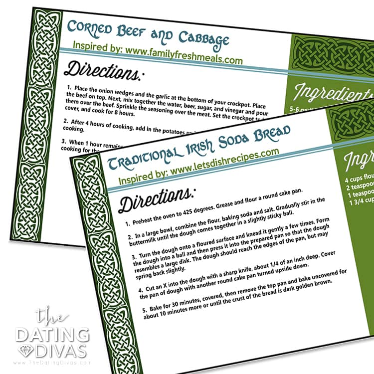 Ireland Themed Recipe Cards