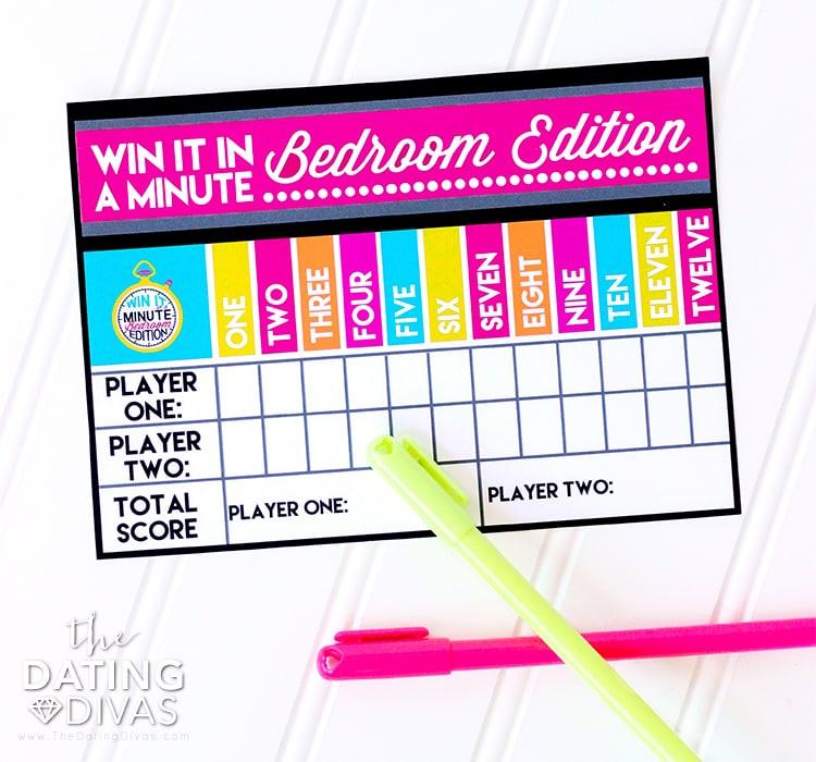 Sexy Games Minute to Win it Bedroom Scorecard