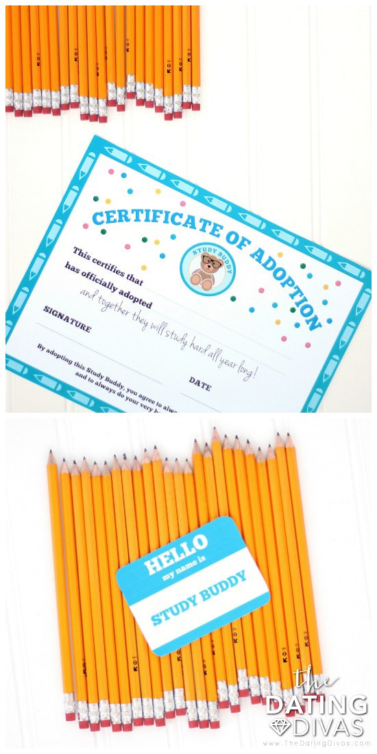 Study Buddy Back to School Gift Printables Certificate