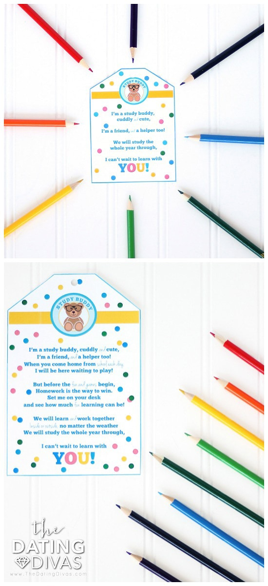 Study Buddy Back to School Gift Printables