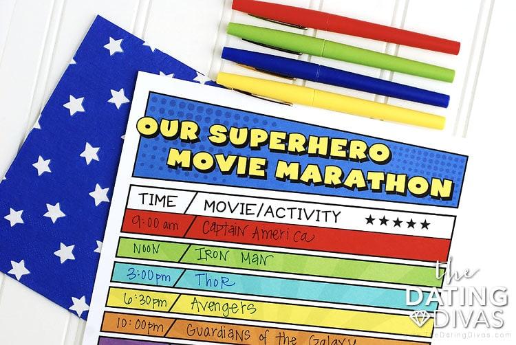 Superhero Movie Marathon Agenda