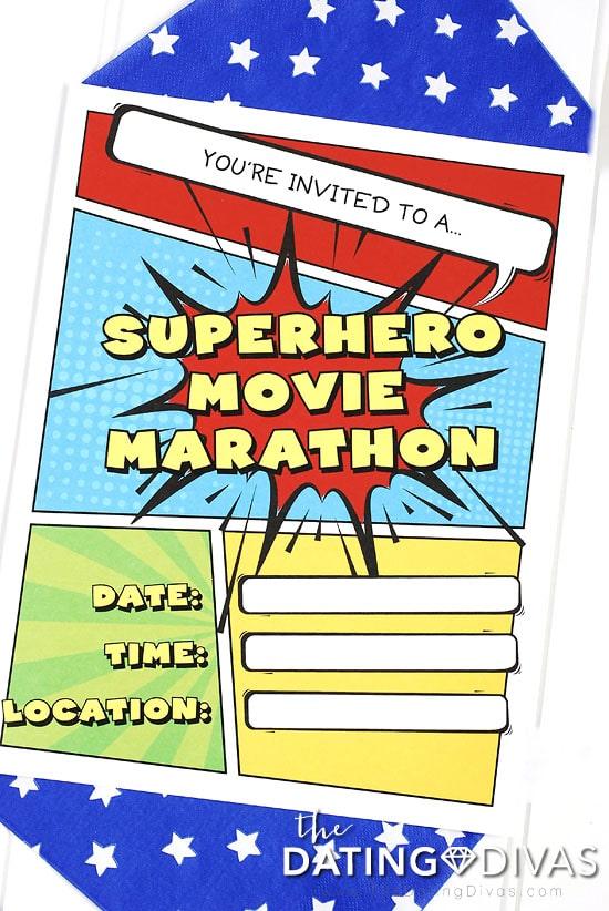 Superhero Movie Marathon Invitation