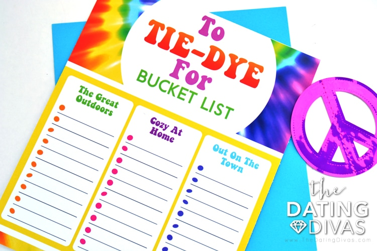 Fun take on a bucket list - things to do in your tie dye!
