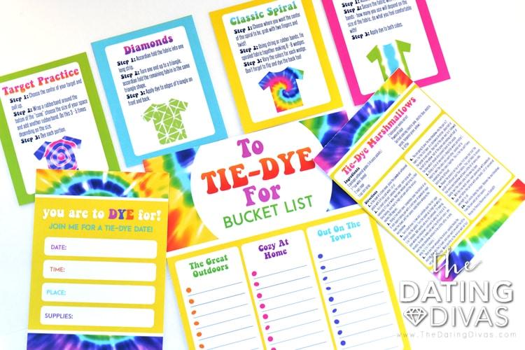 Free printable tie dye date pack.