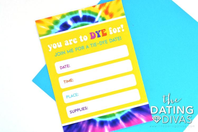 Cute invite for a tie dye date.