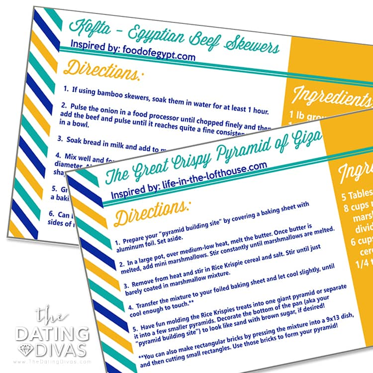 Egypt Date Recipe Cards