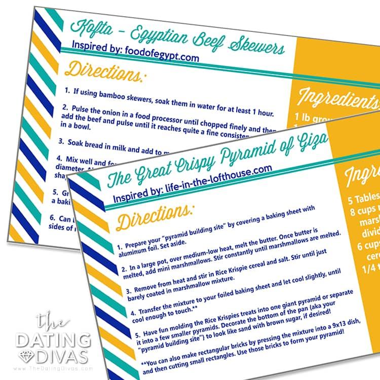 Egypt Date Recipe Cards