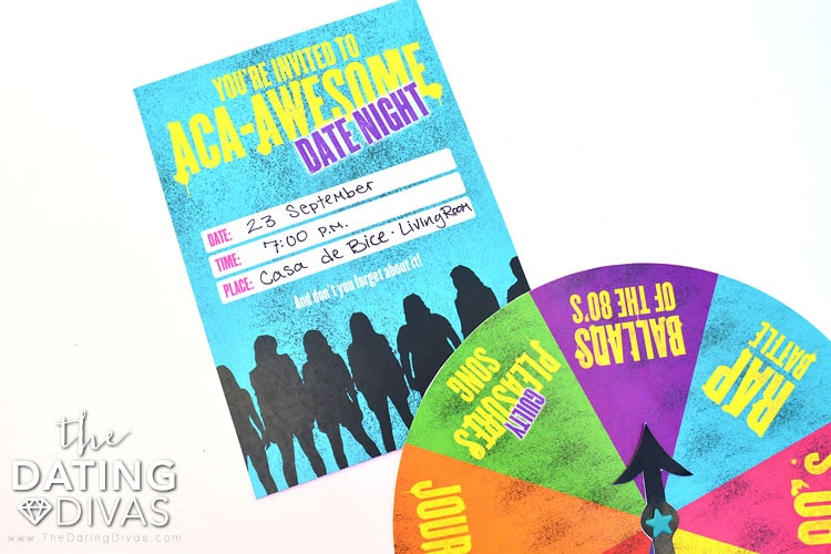 Adorable invite and game for a Pitch Perfect Date Night.