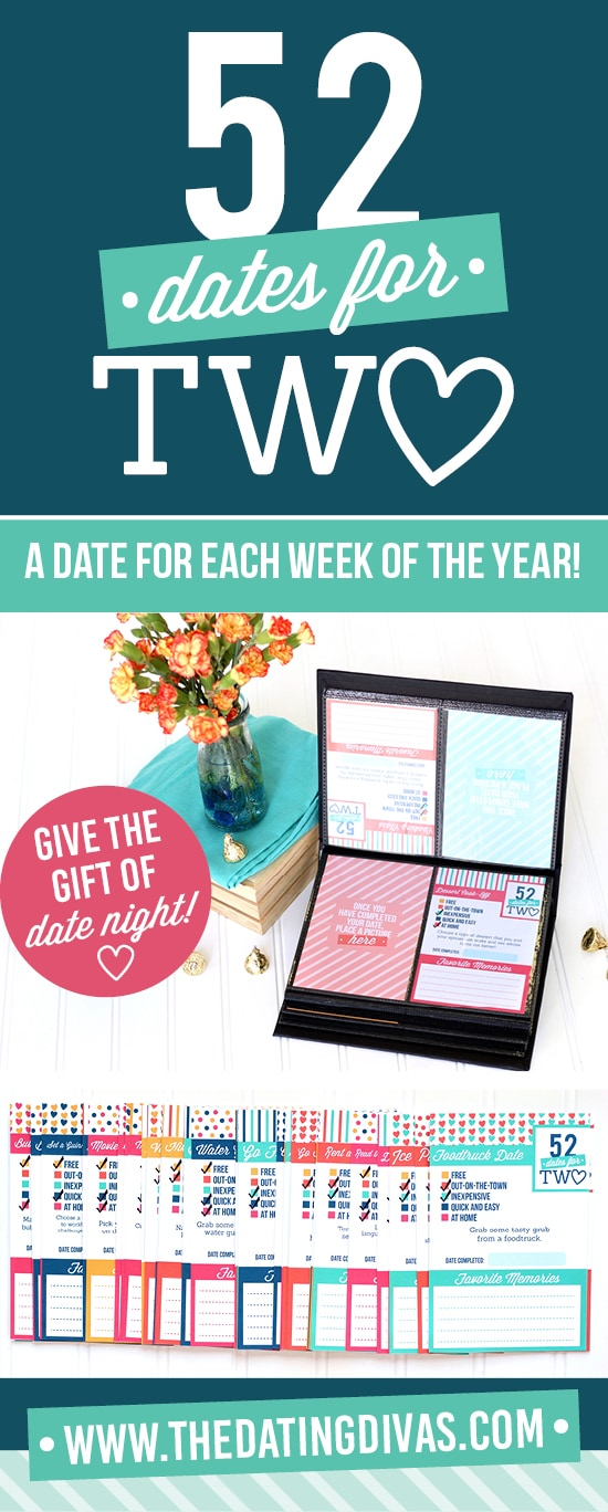 In LOVE with this 52 Weekly Dates Night Ideas printable! There are 52 date night cards to plan dates for a whole year. #TheDatingDivas #WeeklyDateNight