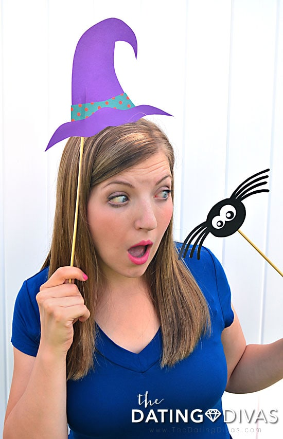 Witch photo booth props for Halloween.