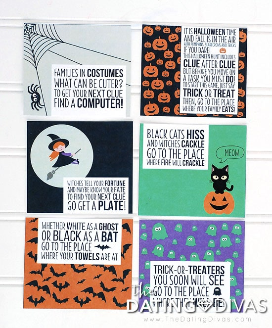 picture regarding Clue Cards Printable known as Halloween Scavenger Hunt Recommendations - Towards The Courting Divas