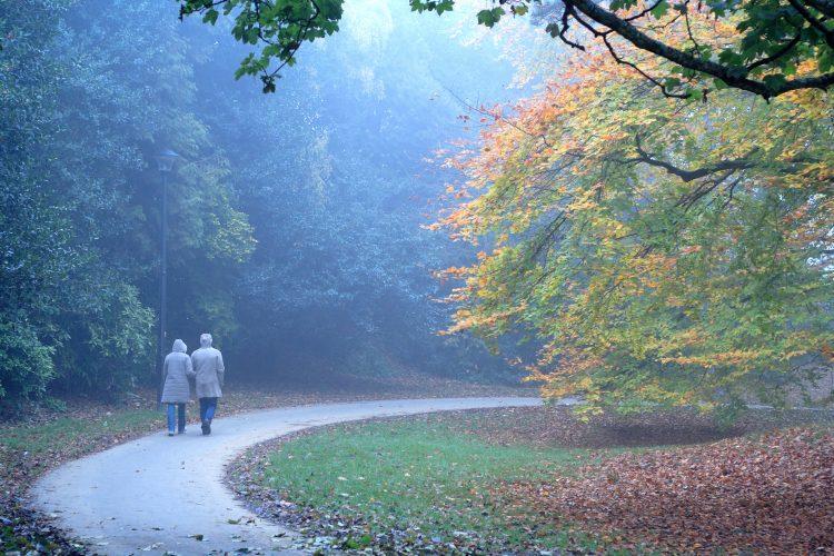 Happy Married Couple Walking