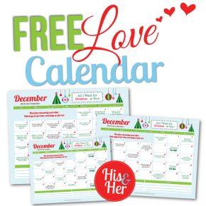 Printable December Love Calendar