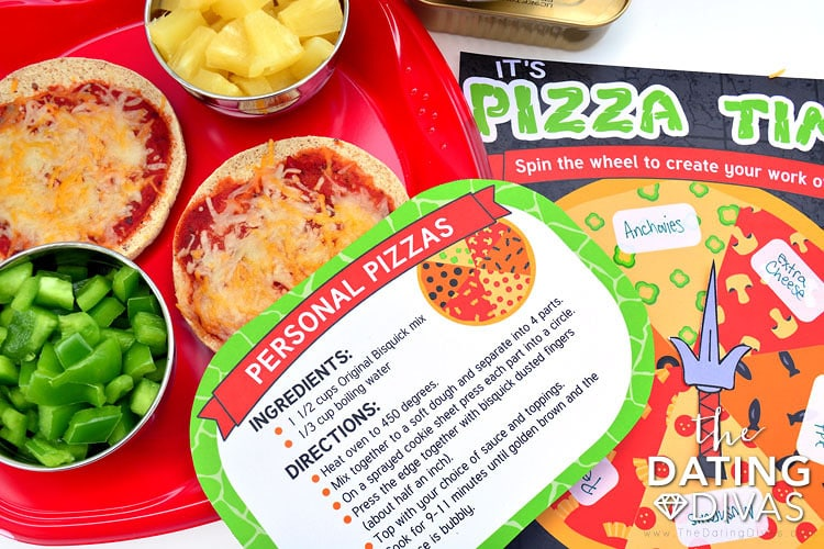 Personal pizza recipe for a teenage mutant ninja turtle date night!