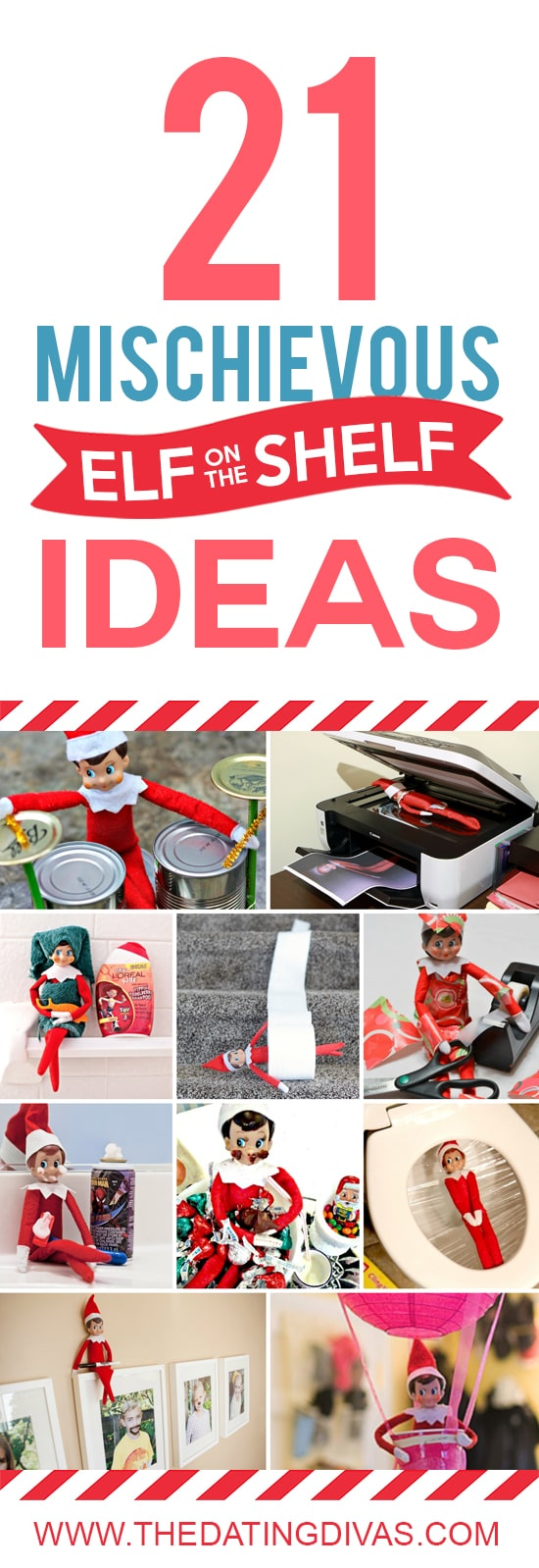 Mischievous Elf on the Shelf Ideas - Christmas hiding places.