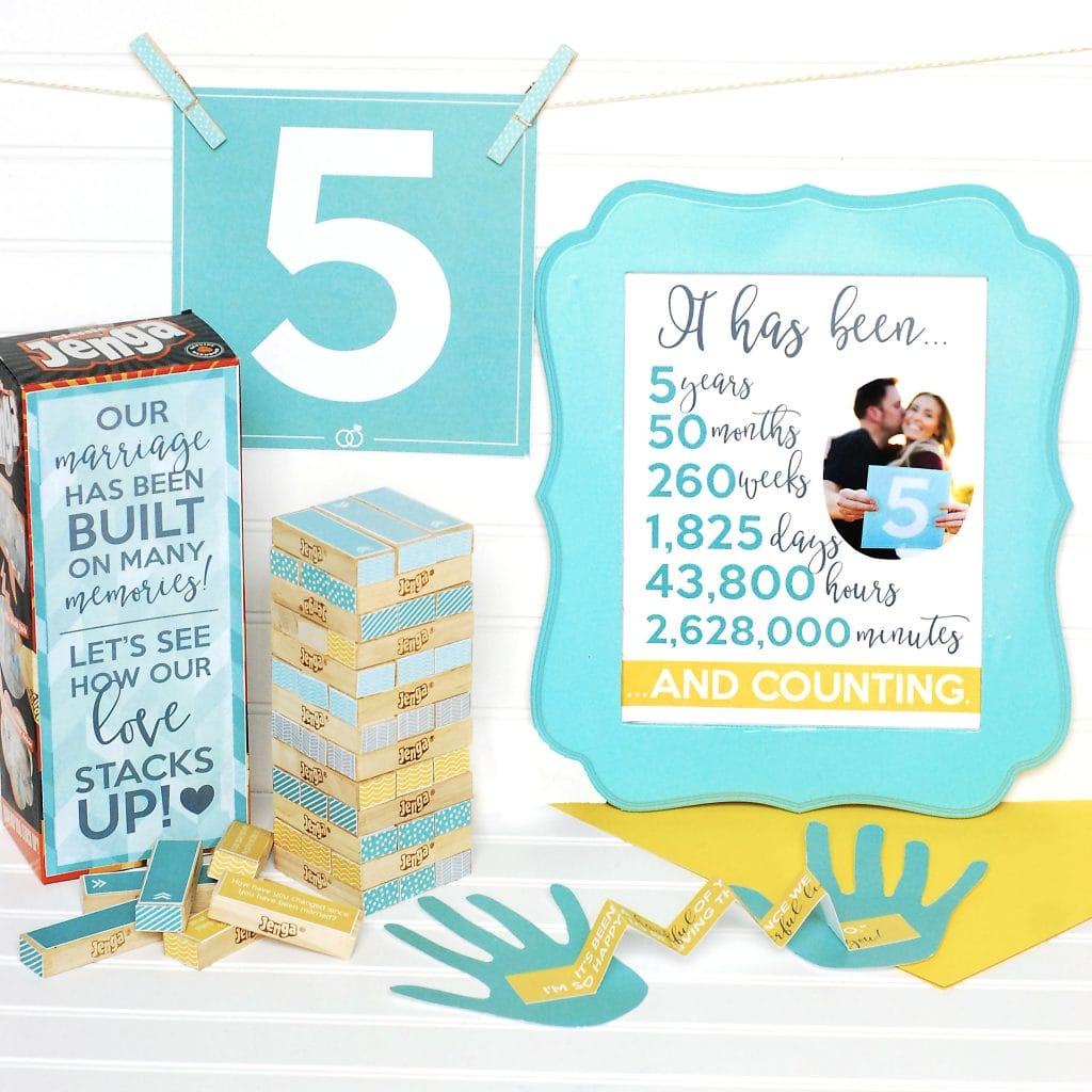 5th Wedding Anniversary Ideas For Her: Fifth Anniversary Gift Printable Kit