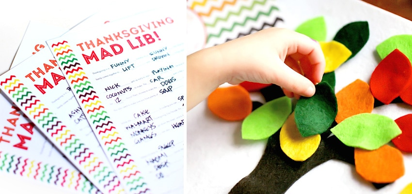 Thanksgiving Mad Lib and Felt Pattern
