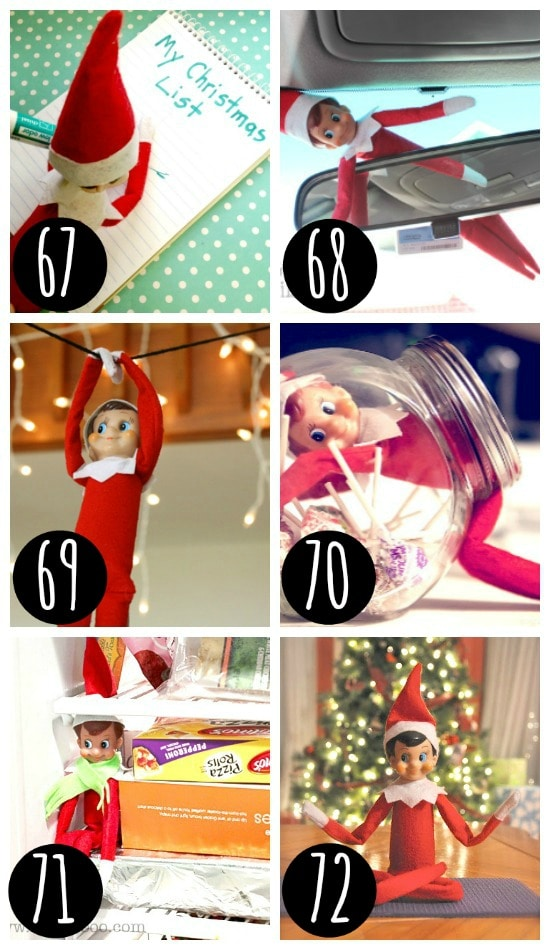 Quick and easy Elf on the Shelf hiding places.