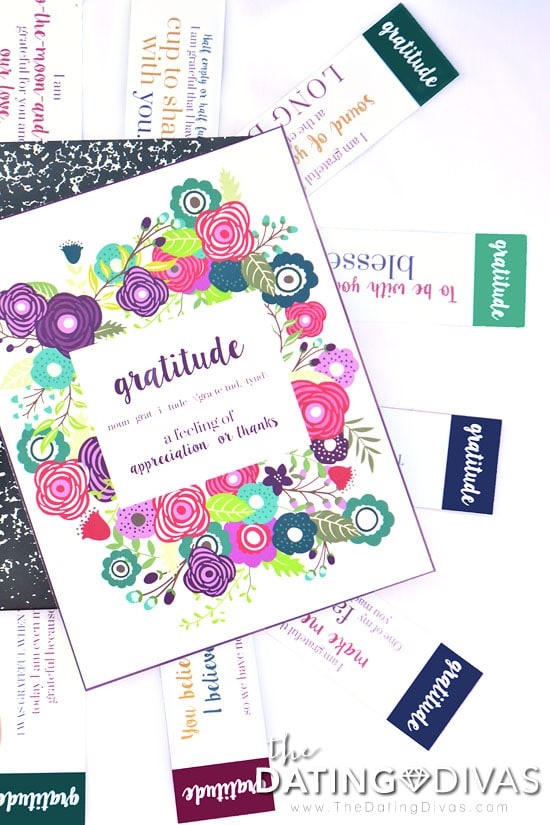 An adorable cover and prompts takes a composition notebook to a beautiful spouse gratitude journal.