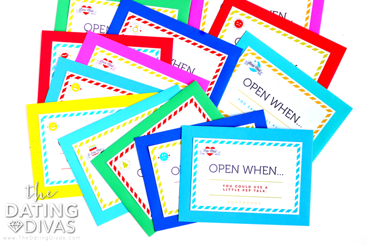Several colorful envelopes of Open When Cards |The Dating Divas