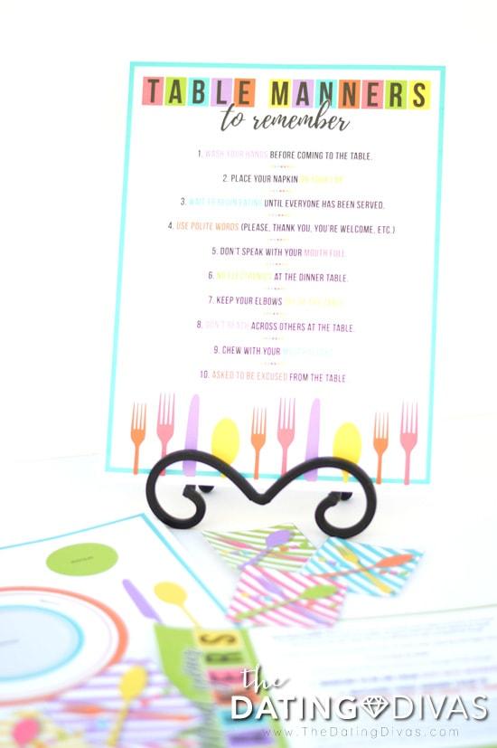 printable table manners list