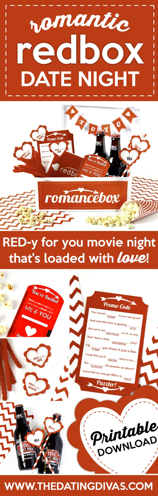 graphic about Redbox Printable Tags called Intimate Redbox Day Evening - The Relationship Divas
