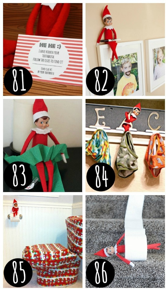 Funny Elf on the Shelf hiding places.