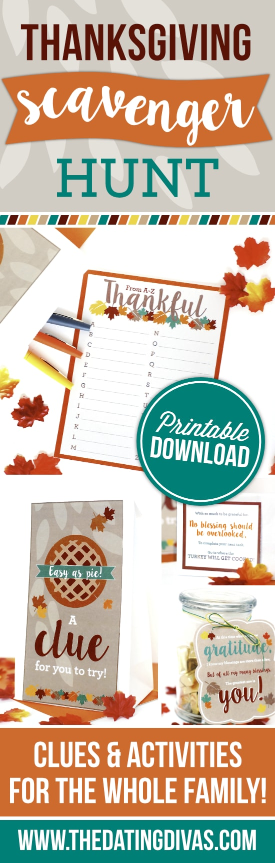 A fun and FREE Thanksgiving scavenger hunt that's perfect for young and old alike!! Looks like so much fun! #thedatingdivas #thanksgivingscavengerhunt #thanksgivingriddlesforadults #thanksgivingtreasurehunt