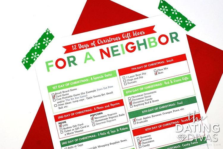 12 days of christmas shopping list