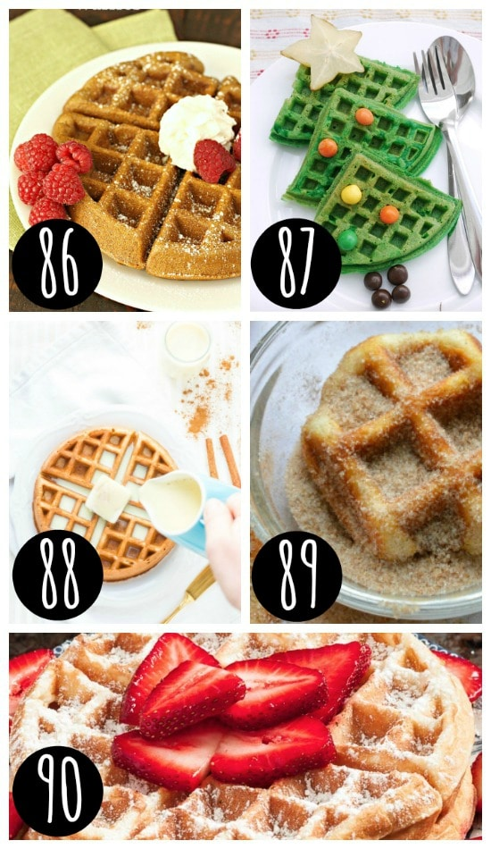 Christmas breakfast waffles for the family.