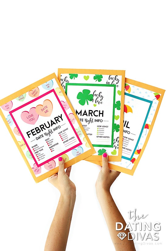 Date Night Kits envelopes for each month of the year.