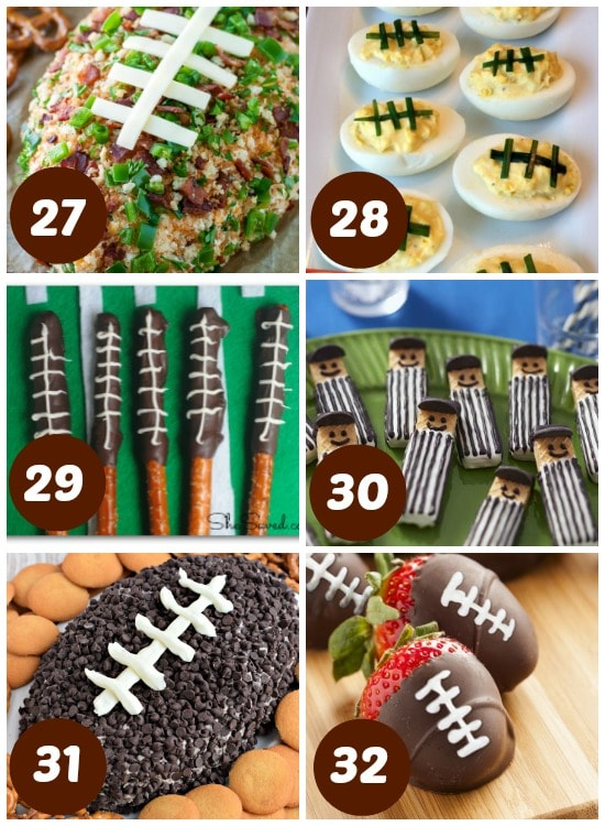Football themed foods for the Super Bowl.