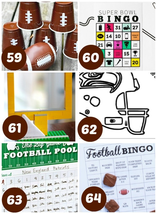 Super Bowl bingos, coloring sheets, and other fun games and activities.