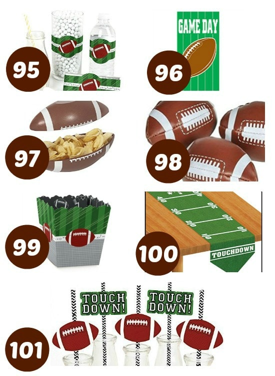 Great list of party supplies for a Super Bowl party.