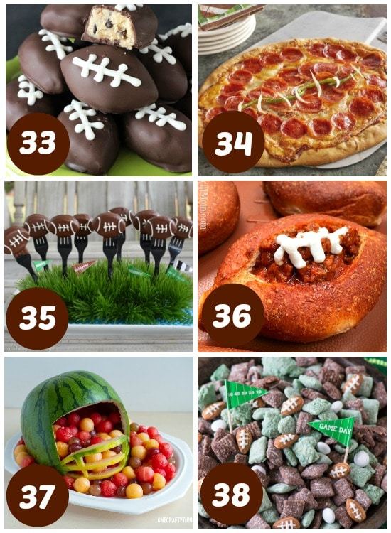 Easy and cute football foods for the Super Bowl.