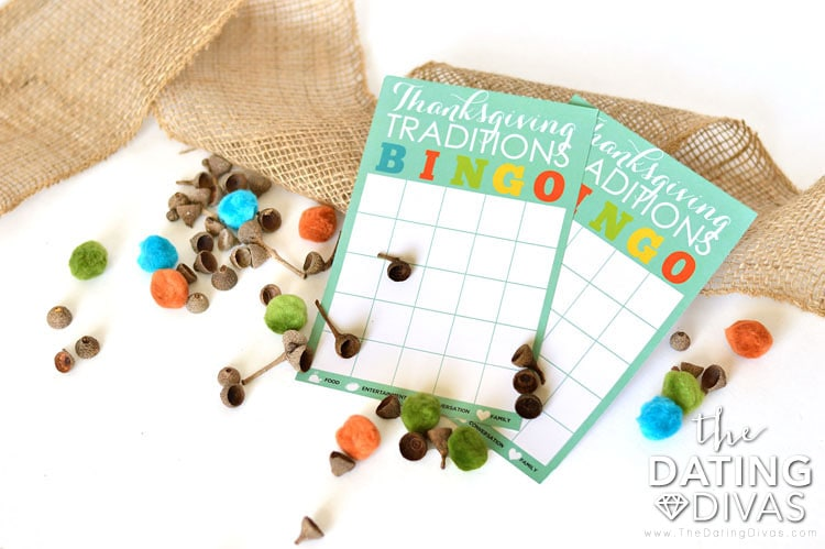 Blank DIY Thanksgiving Traditions Bingo Cards