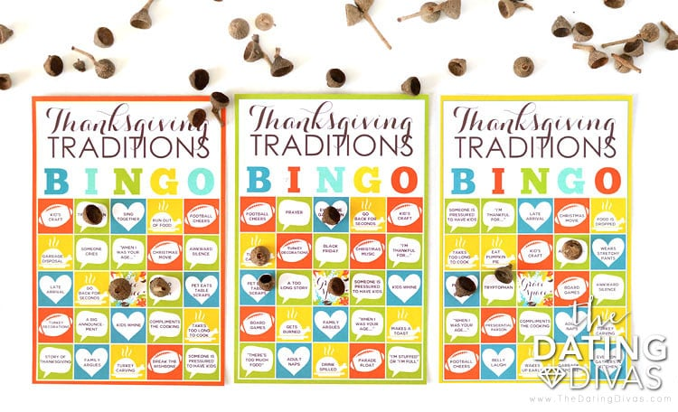 Funny Thanksgiving Traditions Bingo Card Game