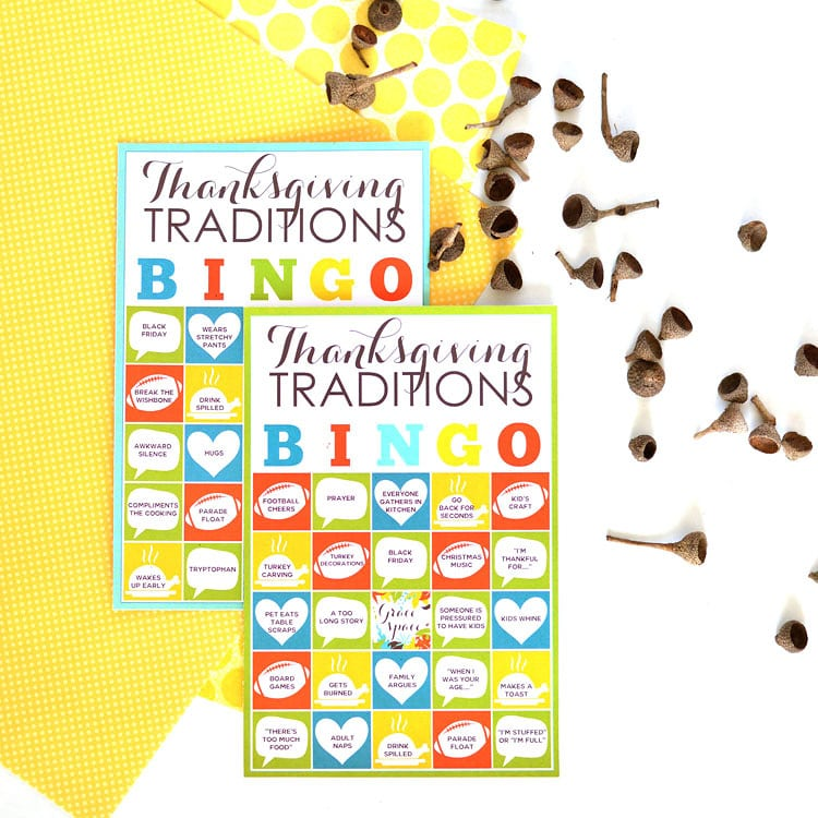 Thanksgiving Traditions Bingo Cards