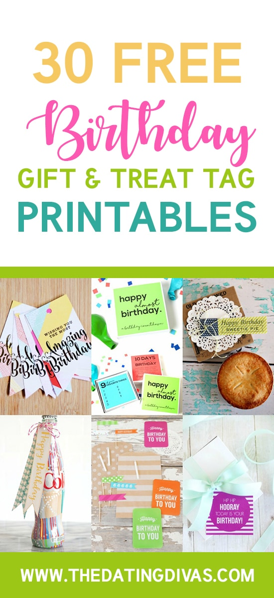 graphic regarding Birthday Tag Printable referred to as 101 Absolutely free Birthday Printables - The Relationship Divas