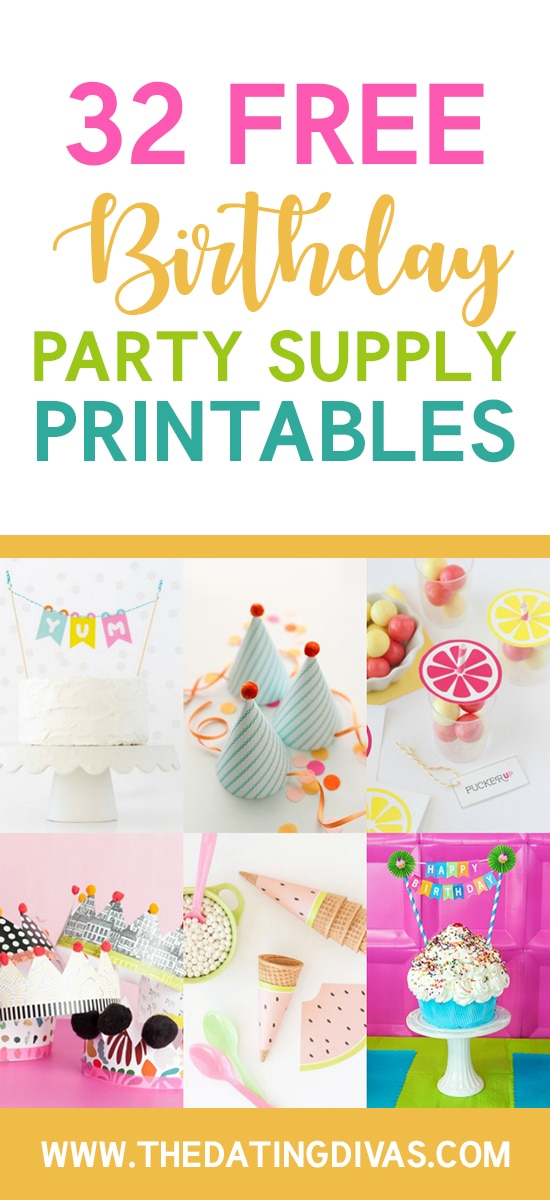 Party Supply Birthday Printables