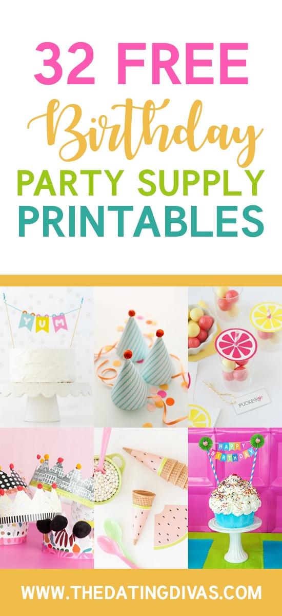 Party Supply Birthday Printables