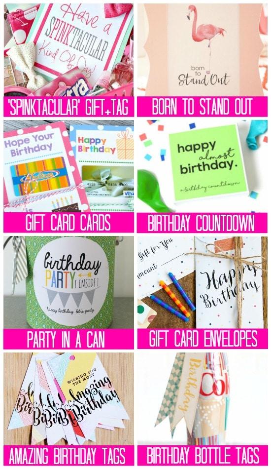 Gift Tag Birthday Printables