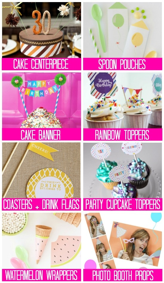 Printable Birthday Party Supplies