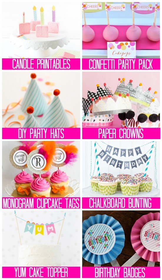 Party Supply Printables Birthday