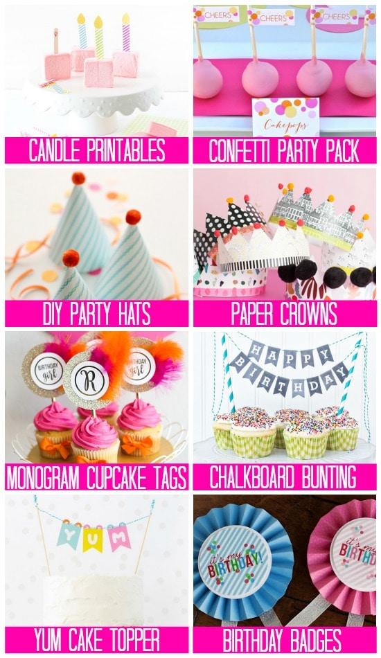 Party Supply Printables Birthday