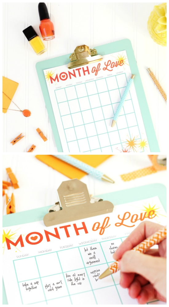 Blank Month of Love Calendar