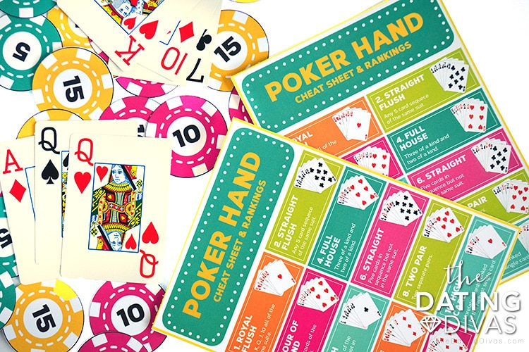 Poker cheat sheets for strip poker night.