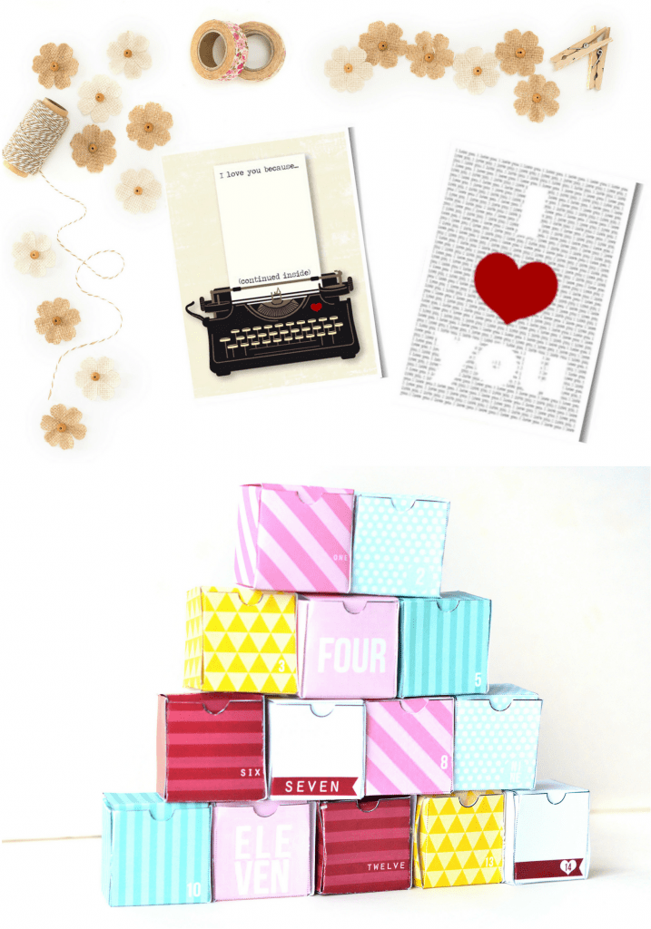 Valentine's Day Printable Cards and Advent Boxes